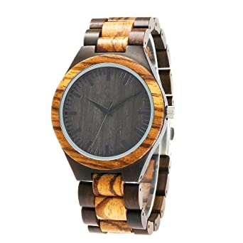 ShoppeWatch Mens Wooden Bracelet Watch Two Tone Sandal Wood Zebrawood Hypo-Allergenic Reloj de Hombres