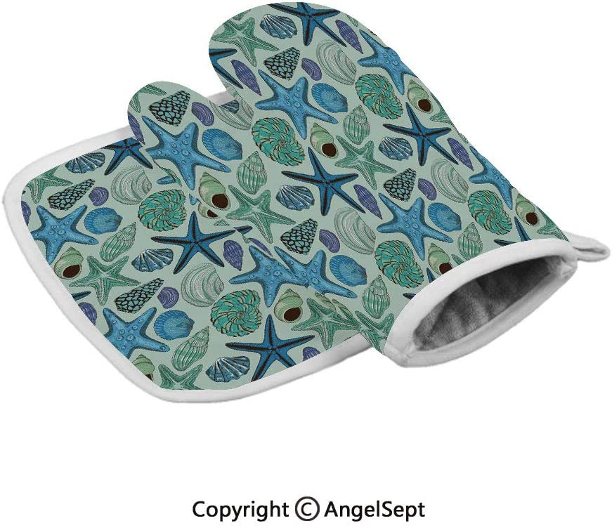 Aquarium Inspired Composition Tropical Seashells Scallops Cockles Clams Decorative, Oven Gloves,BBQ Gloves Polyster,Multicolor,with Insulated Square Mat Combination