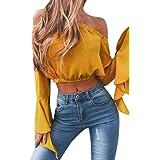 Blusa Mujeres Amlaiworld Mujeres de moda de la cosecha de hombro Tops camisas blusa (L, Amarillo)