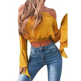 Blusa Mujeres Amlaiworld Mujeres de moda de la cosecha de hombro Tops camisas blusa (L
