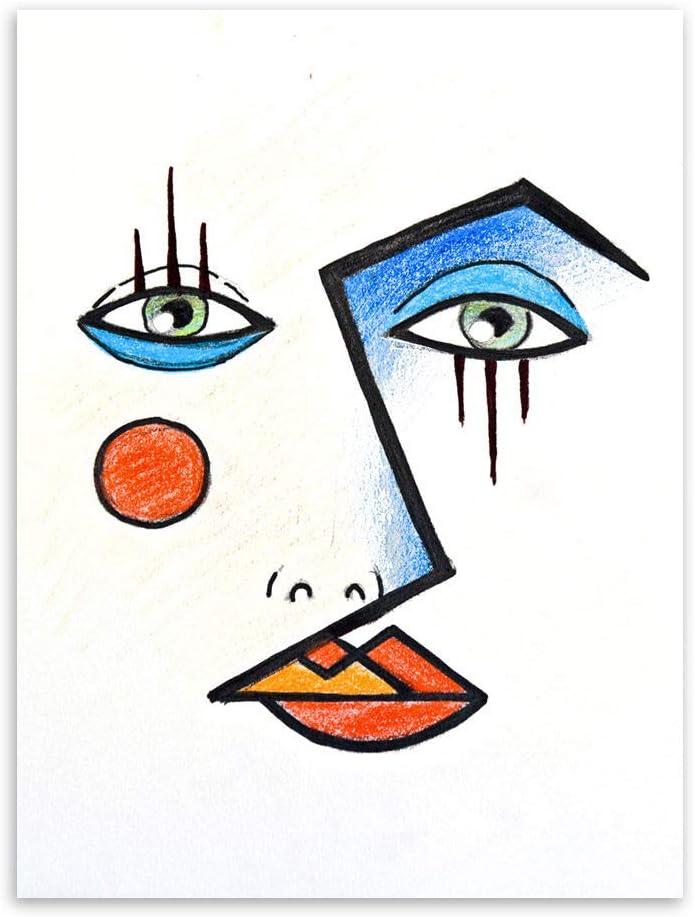 Cuadro En Lienzo Arte De Pared,Moderno Minimalista Abstracto Cara Réplica Imagen Picasso Impresión Sobre Lienzo De Pared Carteles De Arte Salón Dormitorio Decoracion Pintura,28X40 Pulgadas (70Cmx10