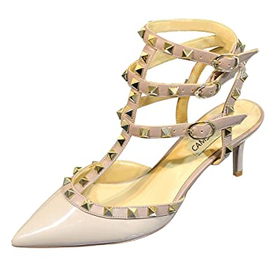 ab096b2fff3 CAMSSOO Women s Pointed Toe Studded Strappy Sandals Rivets Mid Heels  Wedding Party Stiletto Court Shoes Beige