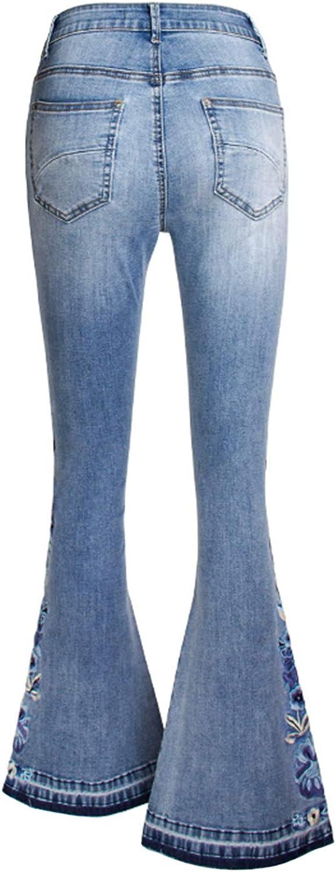 Runstarshow Jean Patte El/éphant Femme Bootcut Pantalon Denim Broderie Pants Evas/ée Jambes Larges Taille Haute Fermeture Eclaire Bouton Vintage El/égant pour Printemps Et/é