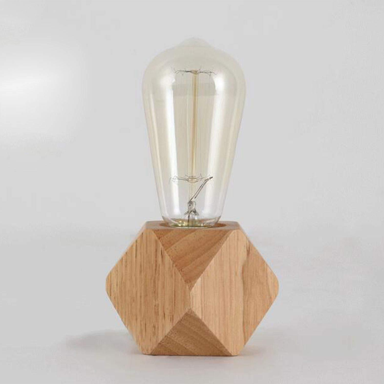 JVSISM Lampe de table moderne e27 Lampe de bureau en bois Lampe de chevet de diamant pour decoration de maison//chambre a coucher//salon Ue-Prise Base en bois