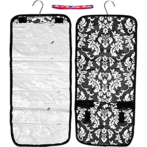 Most Popular Damask Hanging Jewelry Hanger Travel Toiletries Bag Roll Organizer Accessories Set Her Teen Girl Kid Young Wife Mom BFF New Fun Cool Weird Birthday Gift Idea Summer Day Camp Supplies - Titanium Sport Health Necklace