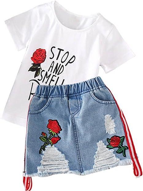 Conjunto de ropa de niña, camisa y falda, 1-6 años de edad, rosa ...