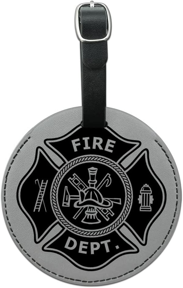 Firefighter Firemen Maltese Cross Black Round Leather Luggage ID Tag Suitcase