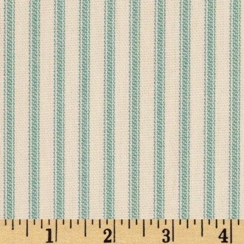 Chenille Ivory Fabric - Santee Print Works Vertical Ticking Stripe Ivory Cerulean Aqua, Aqua