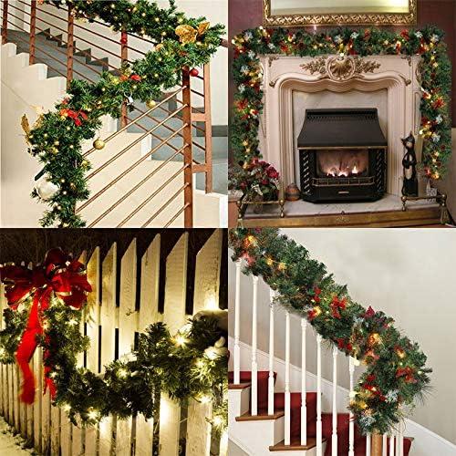 kentop guirnalda de abeto artificial verde abetos Navidad Guirnalda Decoración DIY guirnalda 2.7 m decorativa de Navidad para Interior y Exterior: Amazon.es: Hogar