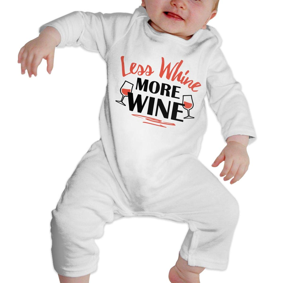 Baby Girls Long Sleeved Coveralls Less Whine More Wine-1 Infant Long Sleeve Romper Jumpsuit
