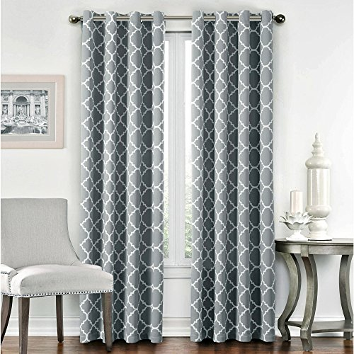 Flamingo P Light Blocking Moroccan Insulated Blackout Drapes Printed Window  Curtains For Living Room, Grommet Top, Set Of Two Panels, Each 63 By 52   Gray