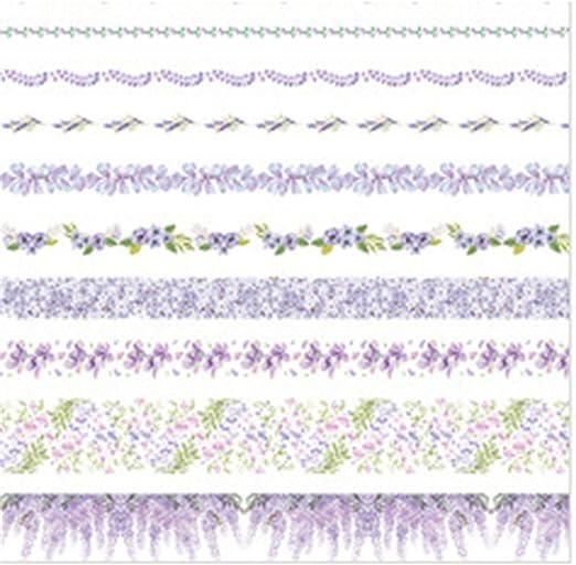 /álbumes de recortes planificadores Juego de 10 rollos de cinta adhesiva Washi para manualidades decoraci/ón de diario