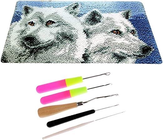 Esquirla Wolf Latch Hook Rug Kit for Kids Children