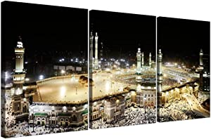 3 Piece Canvas Wall Art for Living Room Modern Home Decor Stretched and Framed Ready to Hang Islamic Mecca at Hajj 16