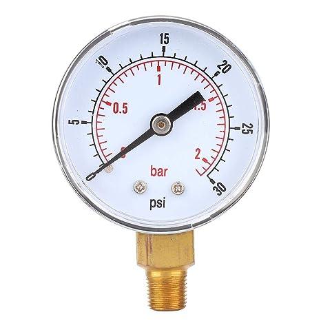 calibro di pressione 0-100 PSI 0-7 bar. 1//8 BSPT montaggio posteriore per aria e olio quadrante 50 mm Manometro in acciaio inox