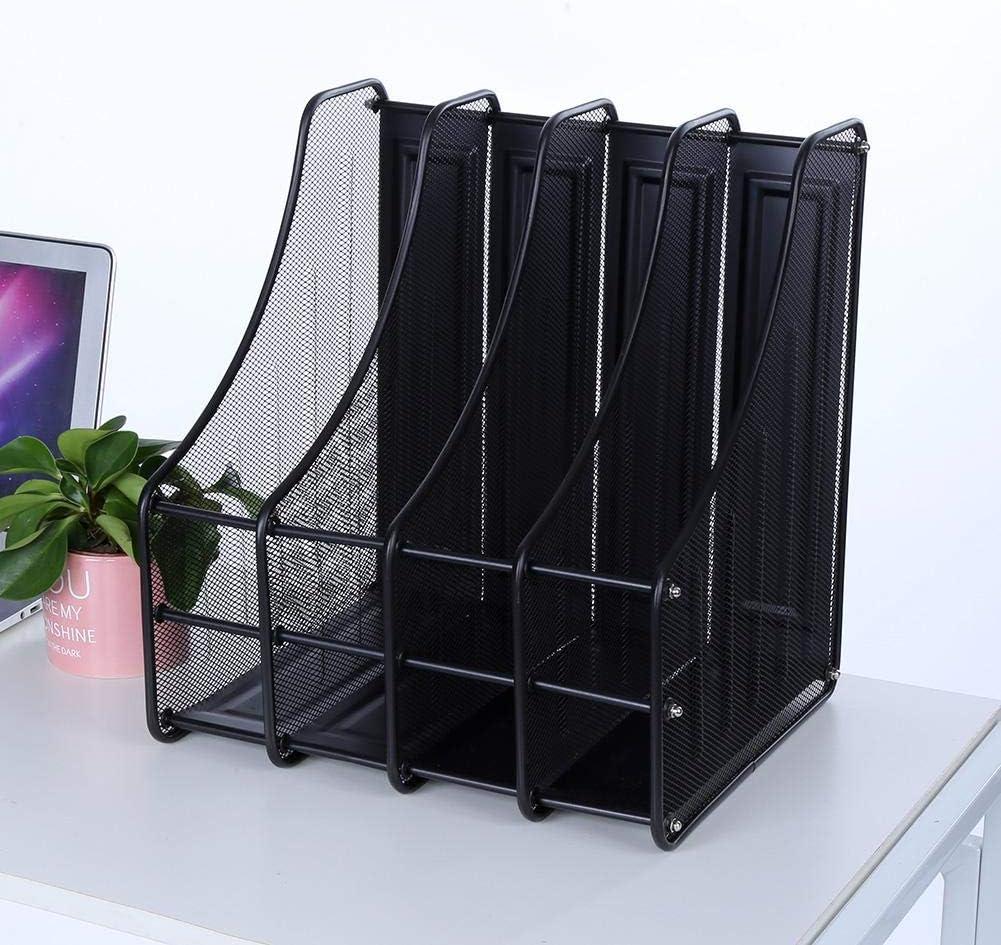 Organizzatore Di File Desk 4 Slot In Metallo Resistente Alla Corrosione Durable Magazine Book File Stand Organizer Sorter Supporto Verticale Per Office Home School