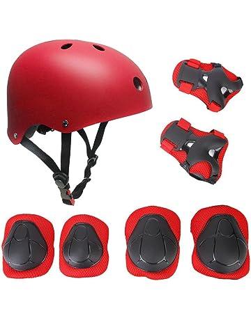 Casco y Protecciones Bicicleta Patines Monopatín Tamaño Ajustable Infantiles Rodilleras Coderas Muñuequeras Deportivos BMX Skate Longboard