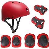 Set di casco, ginocchiere, gomitiere e guanti in gel per bambini, per hoverboard, scooter, BMX e bicicletta (Rosso)