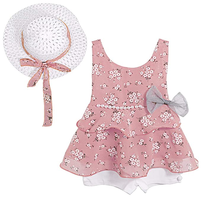 9d74e26ac14 Toddler Kid Baby Girl Clothes Floral Vest T-Shirt Tops +Shorts Pant with  Cute