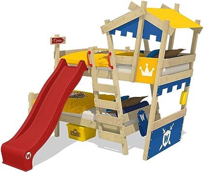 WICKEY Litera CrAzY Castle Cama infantil doble 90x200 Cama alta con tobogán, escalera, techo y somier, azul-amarillo + tobogán rojo: Amazon.es: Bricolaje y herramientas