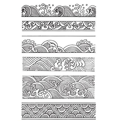 Chinese Japanese Retro Style Ocean Waves Borders Lines Scrapbook DIY Photo Album Cards Rubber Stamp Clear Stamps Transparent Stamp ...