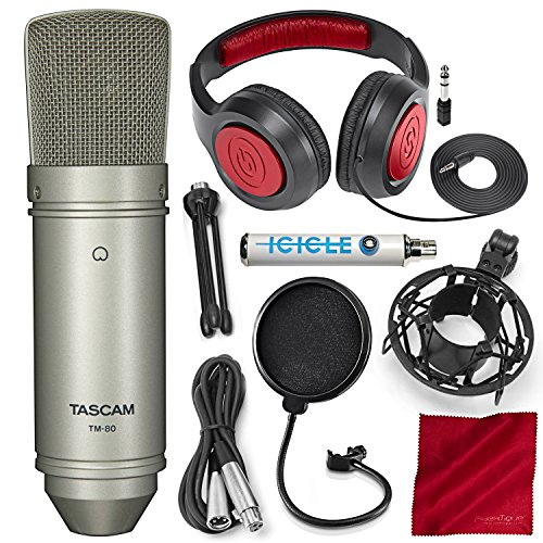 (Tascam TM-80 Large Diaphragm Condenser Microphone with Blue Icicle USB Microphone Interface for Computer and Premium Accessory Bundle )