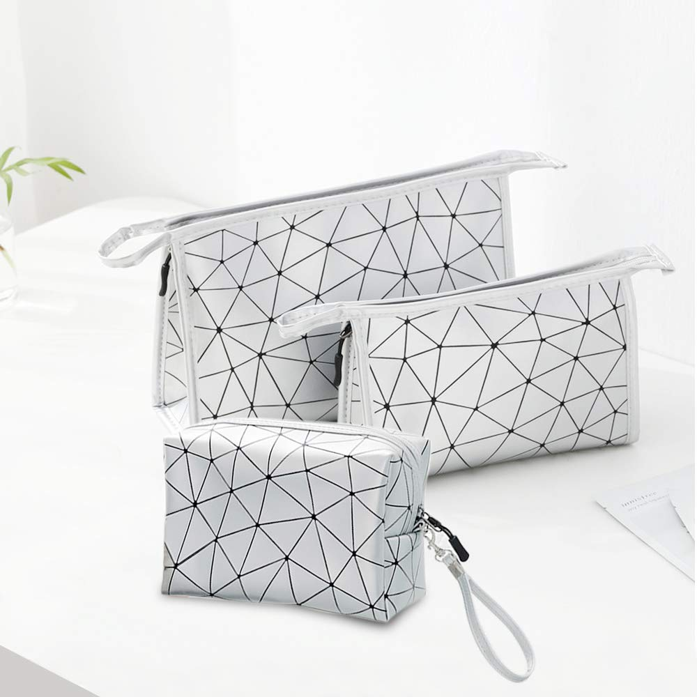 Kosiehouse PU Leather Cosmetic Bags Portable Travel Makeup Organizer Bag Zipper Toiletry Bag Pencil Cases Pouch – Set of 3