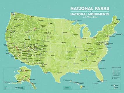 Map Of Us With National Parks.Amazon Com Best Maps Ever Us National Parks Monuments Map 18x24