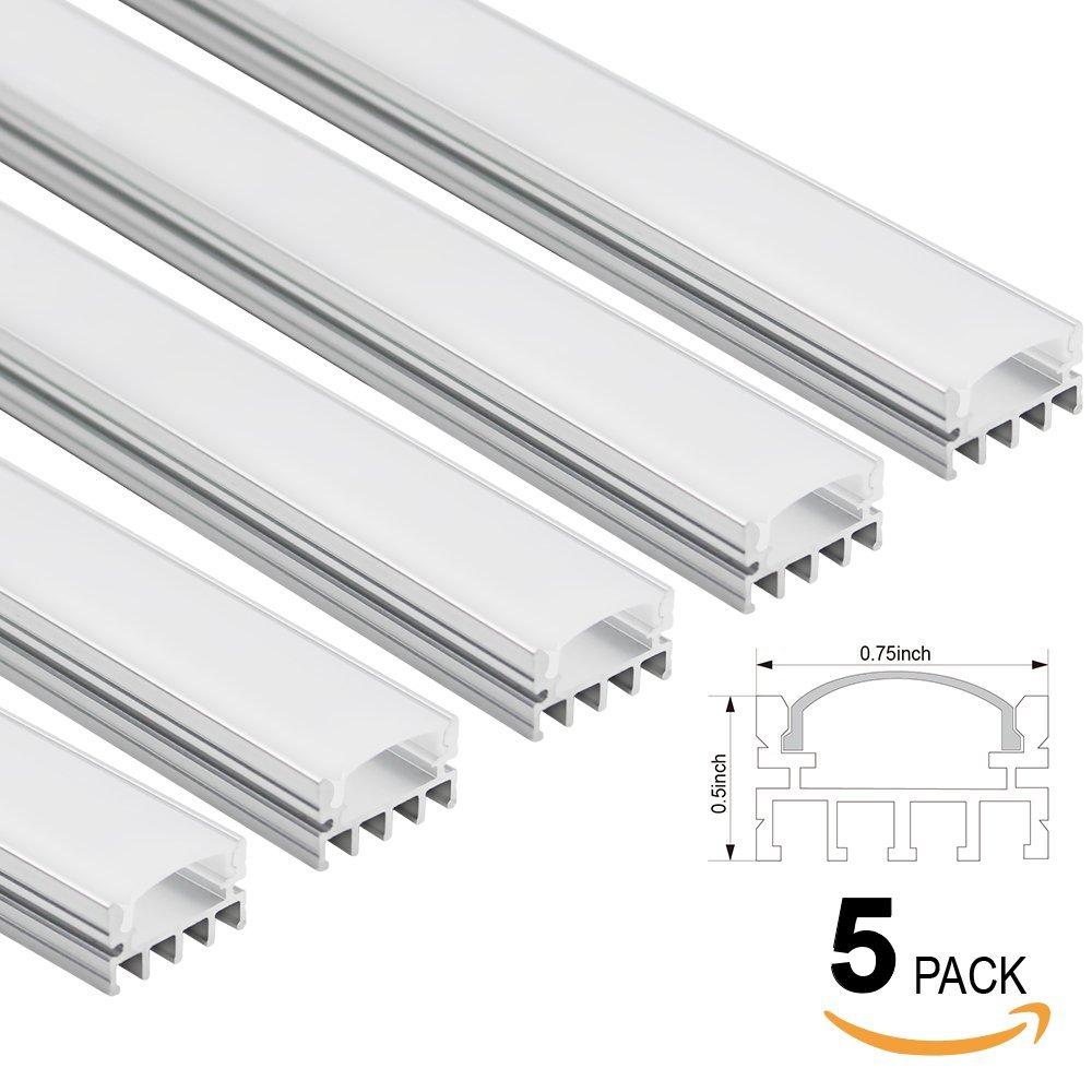 3.3 Ftアルミチャンネル – LEDのアルミニウム押し出しRecessed / Suface Mounted with flex /ハードLEDストリップライト 5 Pack シルバー U-04 B00VRGUI9O 5 Pack U04-U Shape w/ grooves