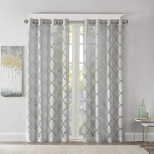 Madison Park Eden Curtains for Bedroom, Modern Contemporary Light Sheers for Living Room, Geometric Pattern with Grommet, 50×84, Grey