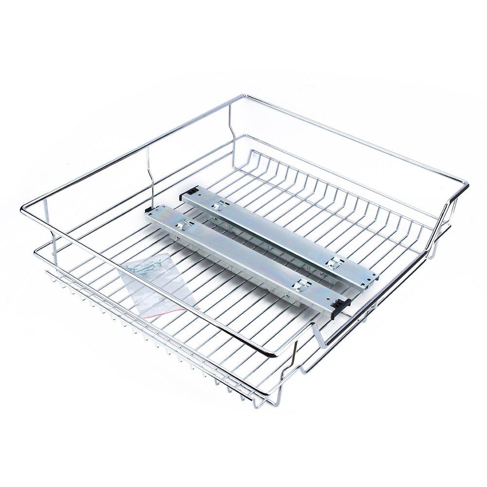 GOTOTOP Kitchen Sliding Cabinet Organizer Pull Out Chrome Wire Storage Basket Drawer for Kitchen Cabinets Cupboards 12.4 17.3 5.3