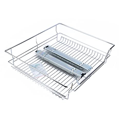 Wire Basket Drawer | Amazon Com Kitchen Sliding Cabinet Organizer Pull Out Chrome Wire
