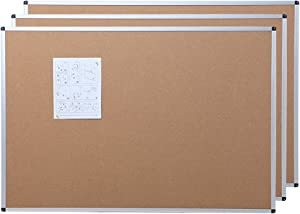 VIZ-PRO Cork Notice Board, 24 X 18 Inches, 3 Pack, Silver Aluminium Frame