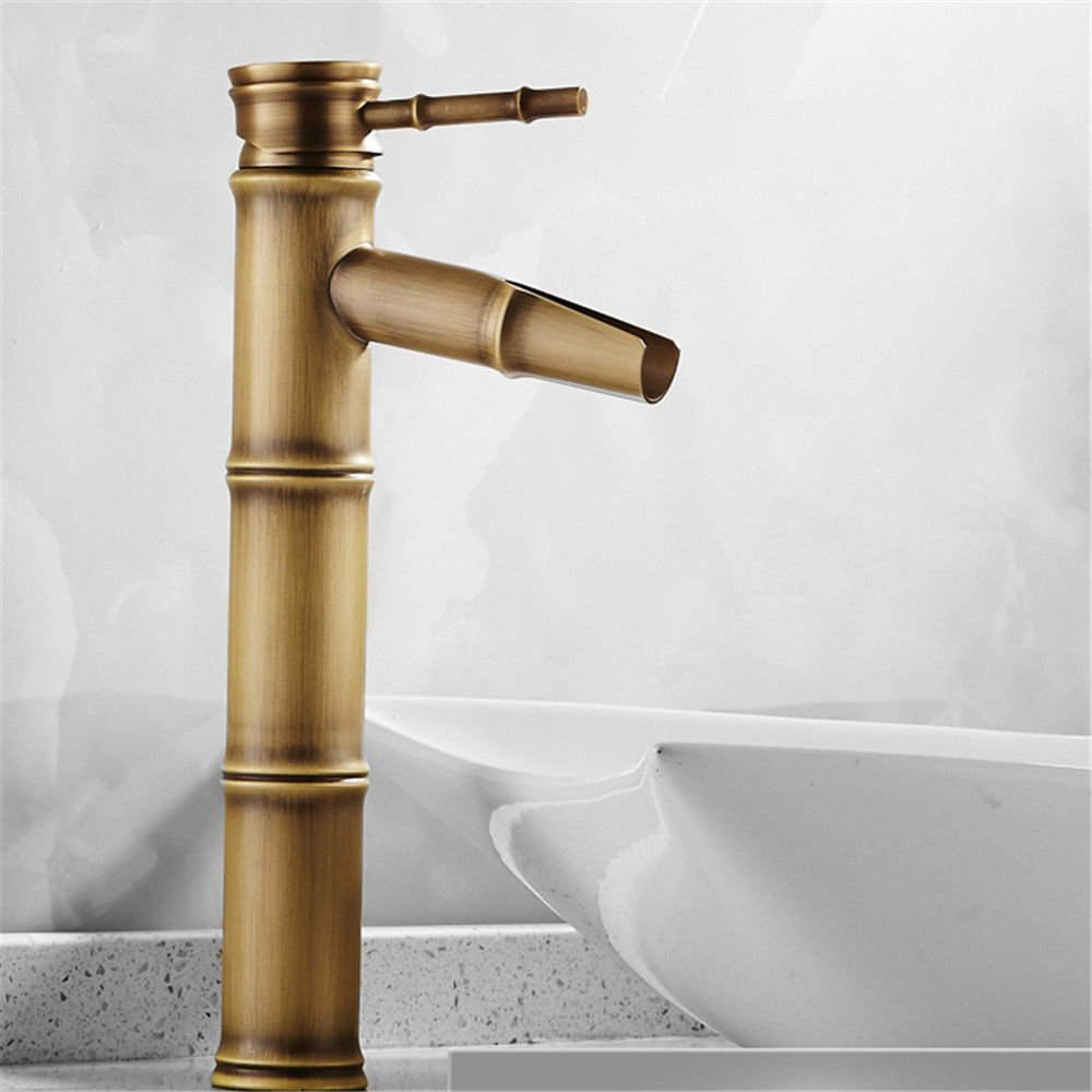 SADASD European High-End Copper Bathroom Basin Faucet Antique Bamboo Wash Basin Sink Taps Single Hole Single Handle Ceramic Valve Hot And Cold Water Mixer Tap With G1 2 Hose