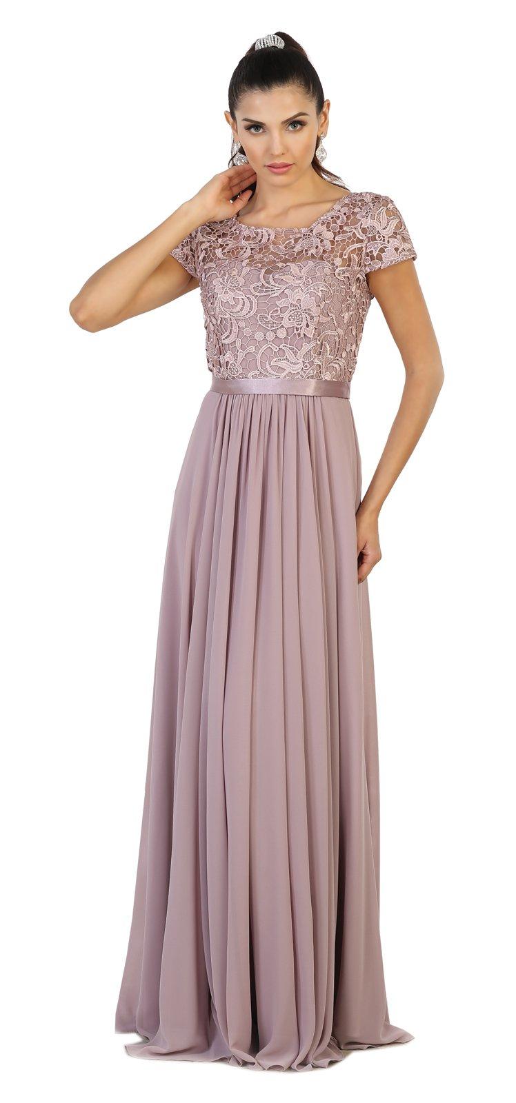 b677aca26ee1 May Queen MQ1486 Short Sleeve Mother of The Bride Evening Dress (L, Mauve)