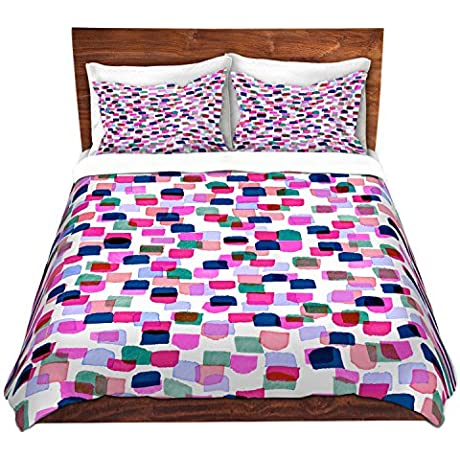 DiaNoche Designs Retro Mod Dots II Cover Brushed Twill Twin King 7 Queen Duvet Sham Set