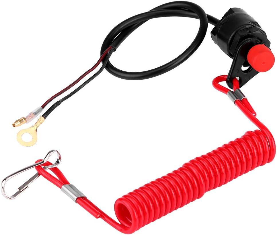 Interruptor de parada de motor universal para motocicleta, fuera de borda, cortacésped, interruptor de botón de parada de emergencia con cordón de sujeción