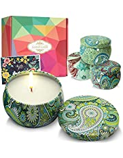 DIY OrganicZ Scented Candle Gift Set – 4.4 Oz | 4 Pure Fragrances | Pure Essential Oil | All Natural 100% Soy Wax | Travel Tin Aromatherapy Candles