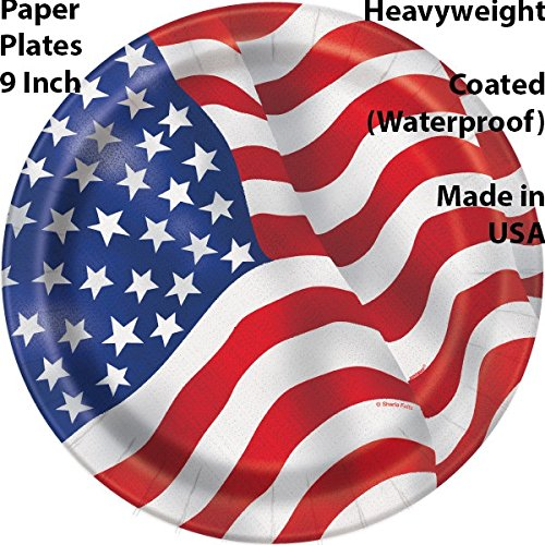 American Flag Tableware 48 Servings. Plates + Cups + Napkins + Cutlery. Patriotic Party Supplies Decorated in Red White and Blue Stars and Stripes for July Fourth, Memorial day, and more by HeroFiber (Image #2)