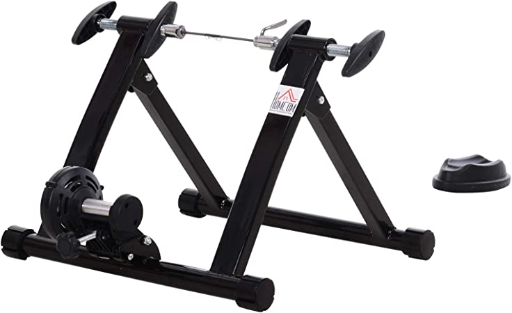 HOMCOM Rodillo Magnético de Ciclismo Rodillo Entrenamiento Bicicleta Plegable 54.5x47.2x39.1cm Acero