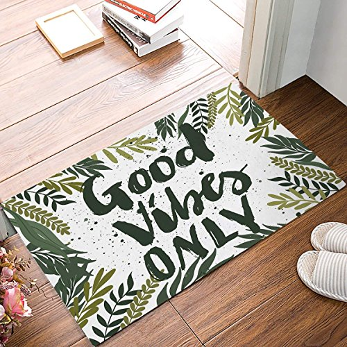 wenhuamucai GOOD VIBES ONLY with Green Tropical Palm Leaves Print Doormat Welcome Mat Entrance Mat Indoor Door Mats Floor Mat Bath Mat 16W X 24H inch