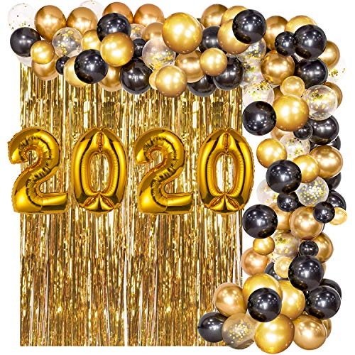 Kyrieval 2020 Gold Balloons, Black and Gold Balloons Garland Arch Kit with Metallic Gold Fringe Curtain for New Year Eve Party Supplies 2020 Graduations Party Decorations