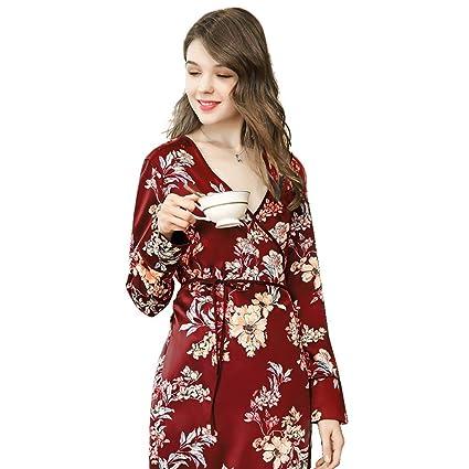 HOQTUM Pijamas para Mujer Pijamas Estilo Kimono Albornoces Largos de ...