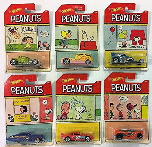 2017 Hot Wheels PEANUTS Complete Set Of 6 : CHARLIE BROWN (Bone Shaker), SNOOPY (Altred Ego), LUCY (Purple Passion), FRANKLIN (Chicane), LINUS (Circle Tracker), SALLY (Qombee) -