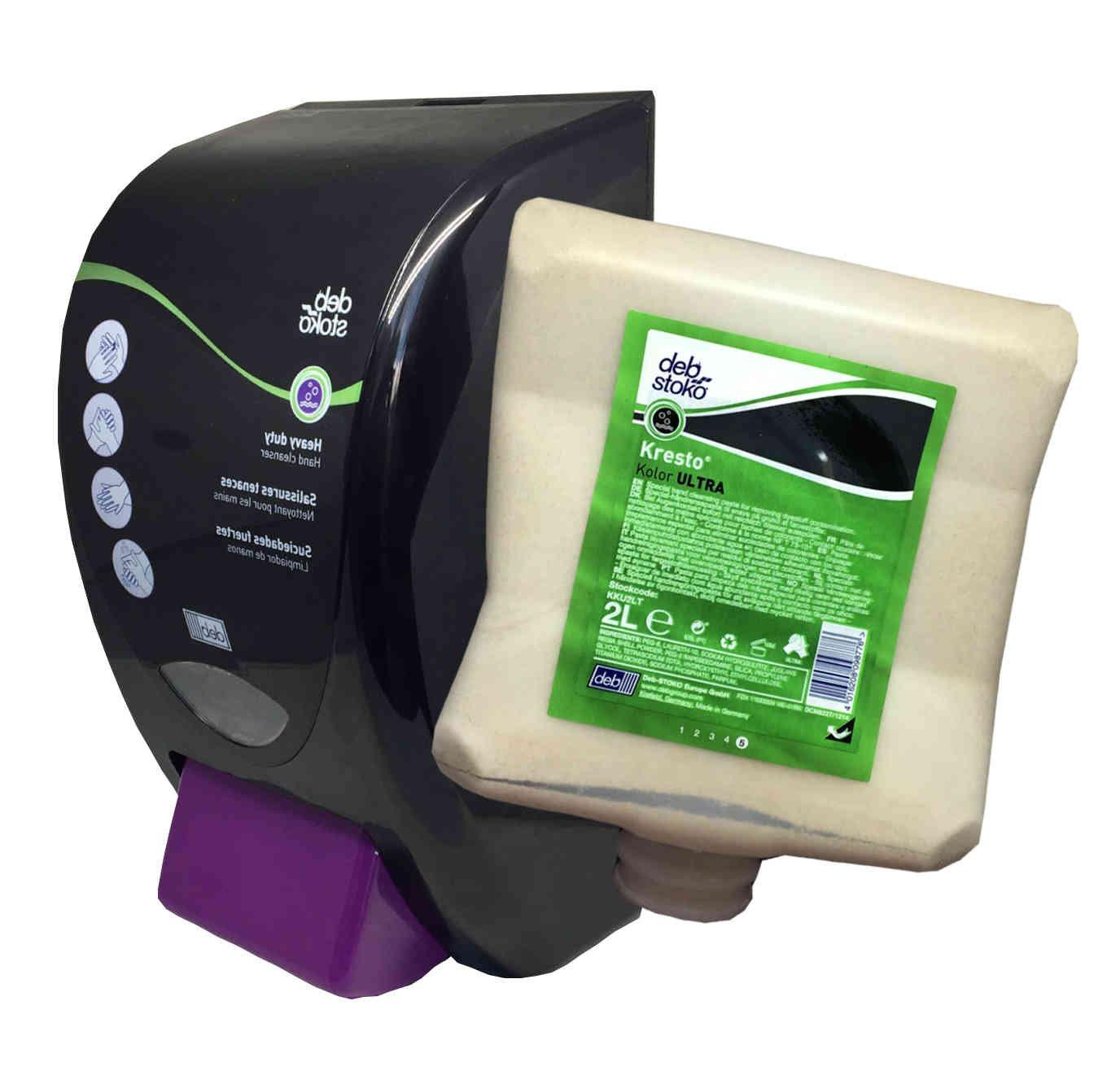 Kresto Kolor Ultra Specialist Hand Cleanser Paste 2 Liter Bottle (KKU2LT) + Dispenser (HVY2LDB) Combo