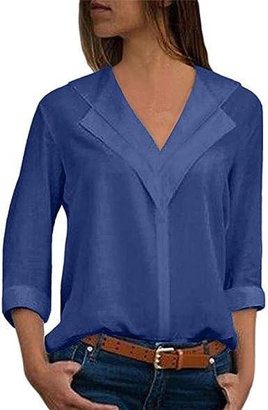 Blusa Gasa Mujer Verano, Forme a Mujeres la Camiseta sólida de la Gasa de la Oficina de Las señoras Plain Roll Sleeve Blusa Tops: Amazon.es: Ropa y accesorios
