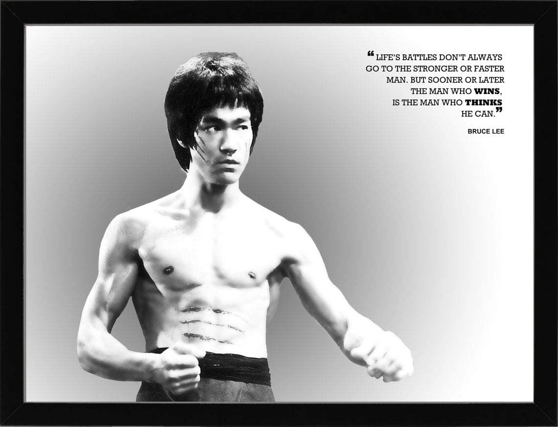 Bruce Lee Poster, Motivational Artwork for Wall Art Decor, Gym, Living Room, Kids, Office Decorations, Man Cave, Gift with Quote/Citation - Landscape