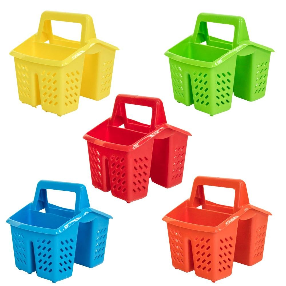 Excellent Houseware Set of 5 Colours 4 Compartment Plastic Sink Tidy Filter Cutlery Drainer Caddy with Handle