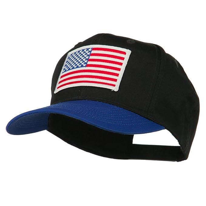 b2baf4cb9212e E4hats White American Flag Patched Cotton Twill Cap - Royal Black OSFM