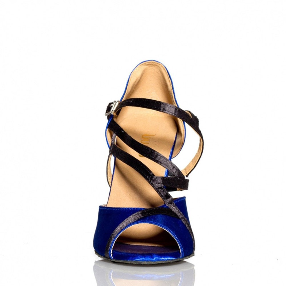QWERTYUIOP Women's Blue Latin Dance Dance Dance Shoes,Soft Bottom Pu Dancing Shoes High Heels Tango Salsa Social Dancing Shoes B07HCL43K5 Foot length=24.3CM(9.6Inch)|A 30d75c